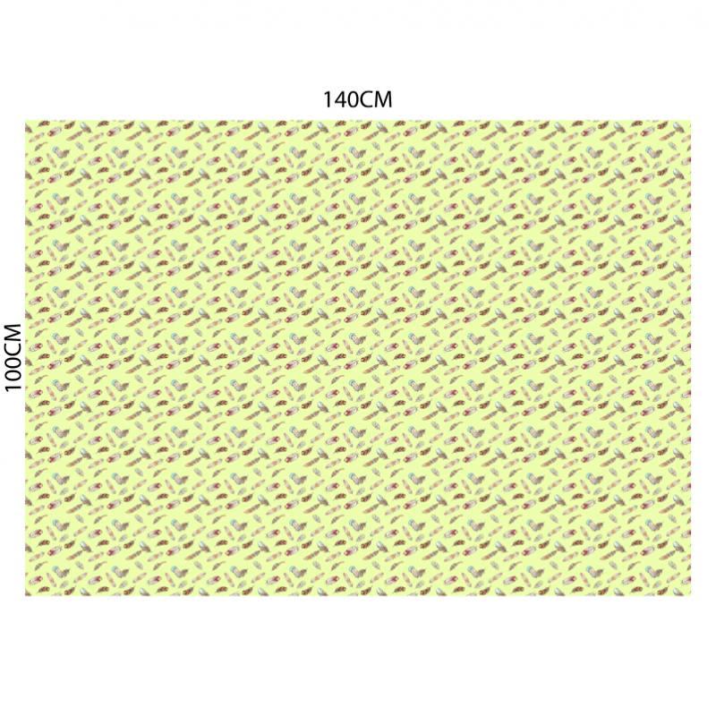 Velours ras vert d'eau motif plume indienne