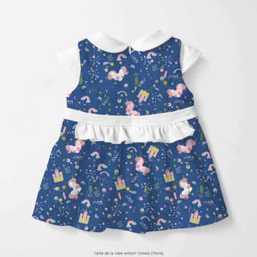 Coton bleu motif château gold et licorne rose