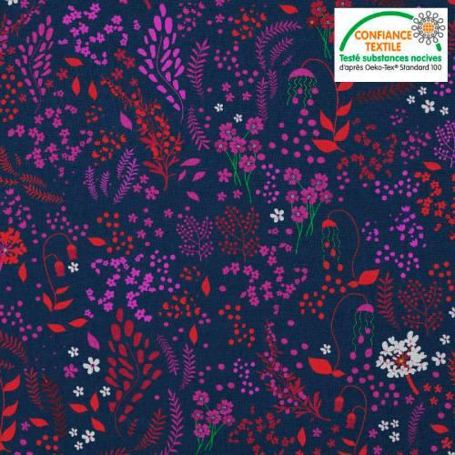 Coton bleu motif fleurs champêtres prunes rouges