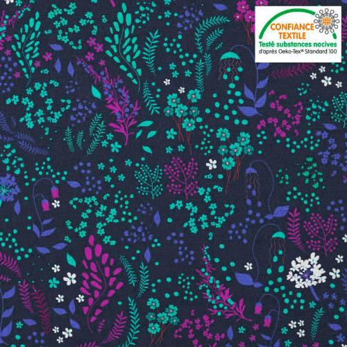 Coton bleu motif fleurs champêtres violettes bleues vertes