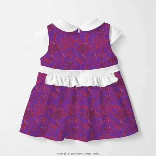 Coton violet motif fleurs des champs rouges