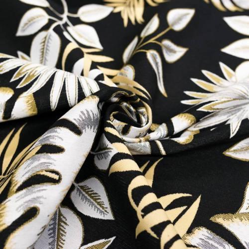 Coupon 50x68 cm - Jacquard noir motif feuilles tropicales jaunes et blanches