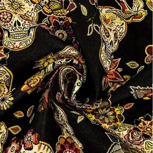 Coupon 50x68 cm - Jacquard noir Cristobal Calavera