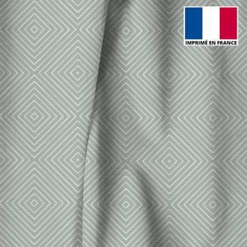 Velours ras vert de gris motif carré géométrique élégant
