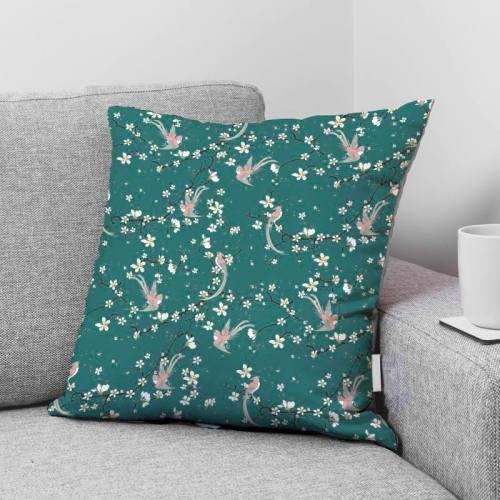 coupon - Coupon 81cm - Coton bleu canard motif fleur de cerisier et oiseau