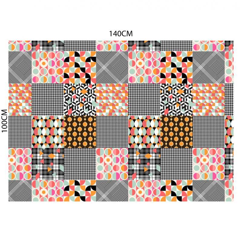 Velours ras motif patchwork rétro rose orange et vert d'eau