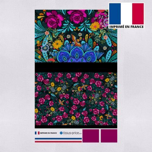 Kit pochette canvas rose motif rosier