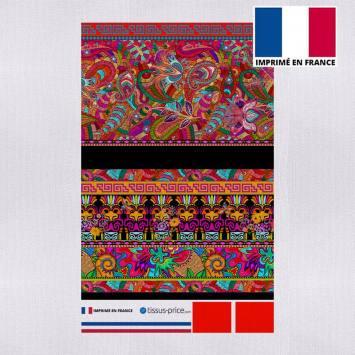 Kit pochette canvas multicolore motif ethnique effet brodé
