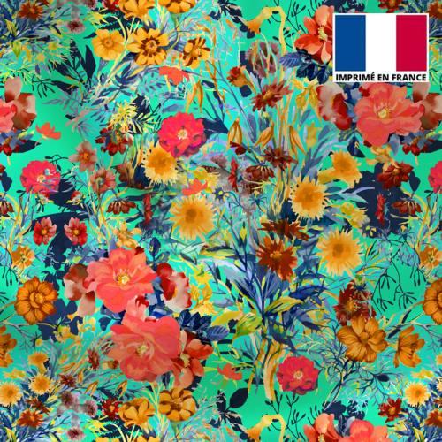 Satin vert d'eau motif bouquet de fleurs champêtres