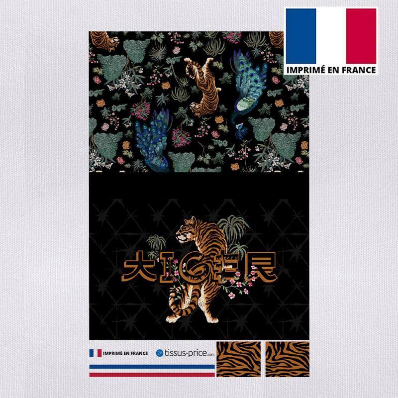 Kit pochette canvas noir motif tiger japonais