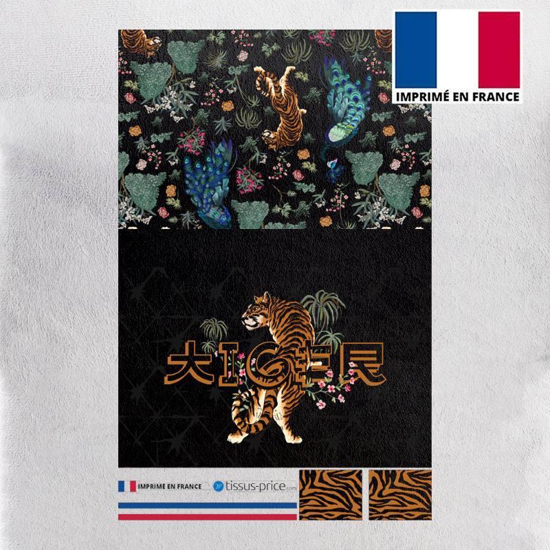 Kit pochette velours ras noir motif tiger japonais