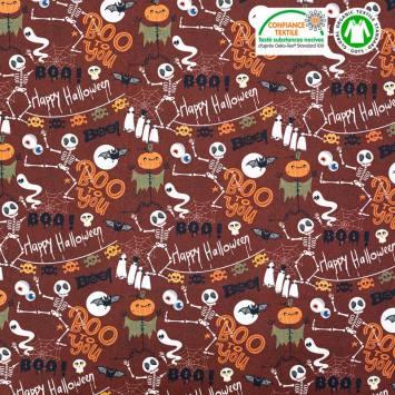Coton bio bordeaux motif Halloween Oeko-tex