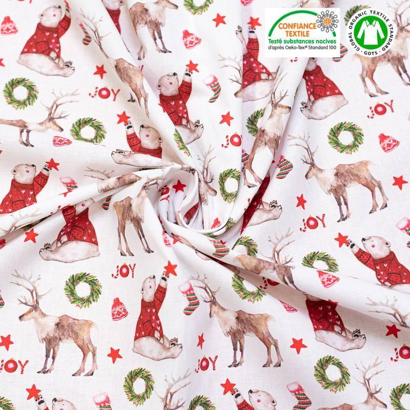Coton bio écru motif ours et renne de Noel Oeko-tex