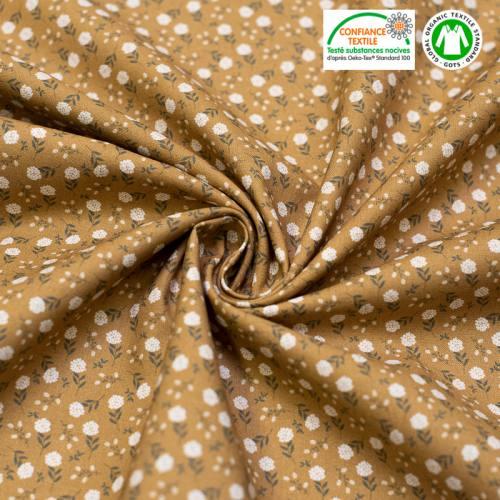 Coton bio camel imprimé petites fleurs blanches Oeko-tex