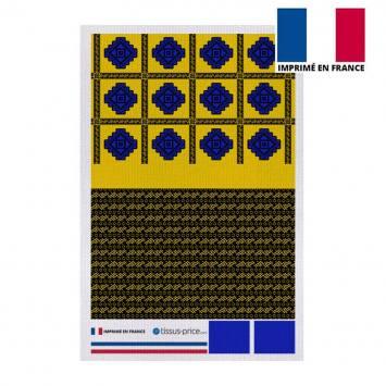Kit pochette canvas jaune motif tableau wax géométrique bleu