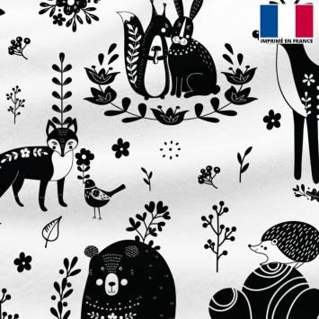 Polaire écrue motif animaux folk