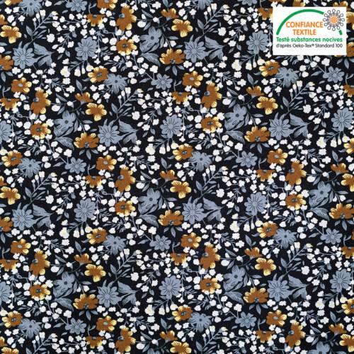 Popeline de coton noire motif fleur marron et grise Oeko-tex