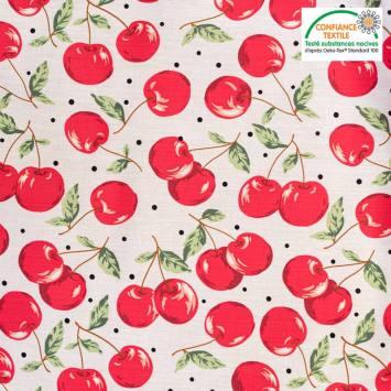 Popeline de coton écrue motif cerise rouge Oeko-tex