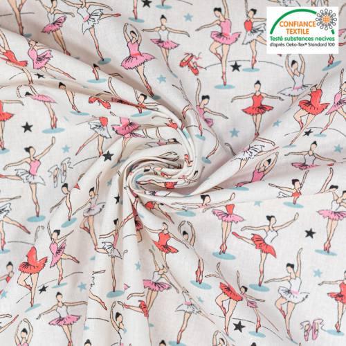 Coton ivoire motif ballerine Oeko-tex