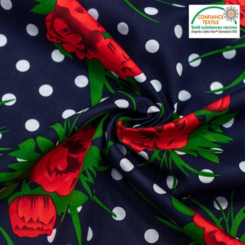 Popeline de coton bleu marine motif pois blanc et fleur rouge Oeko-tex