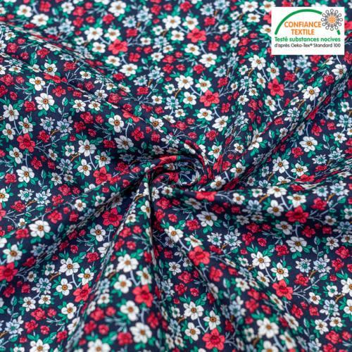 Popeline de coton noire motif floral Oeko-tex