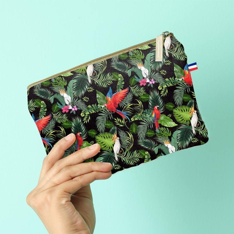 Kit pochette velours ras noir motif feuille tropicale et perroquet