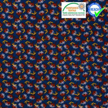 Viscose bleu marine imprimée feuille rouille ombile Oeko-tex