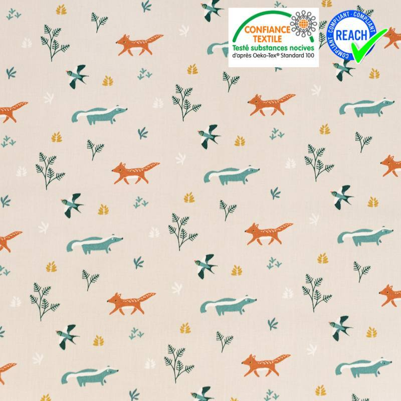 Coton grège motif renard et hirondelle Oeko-tex