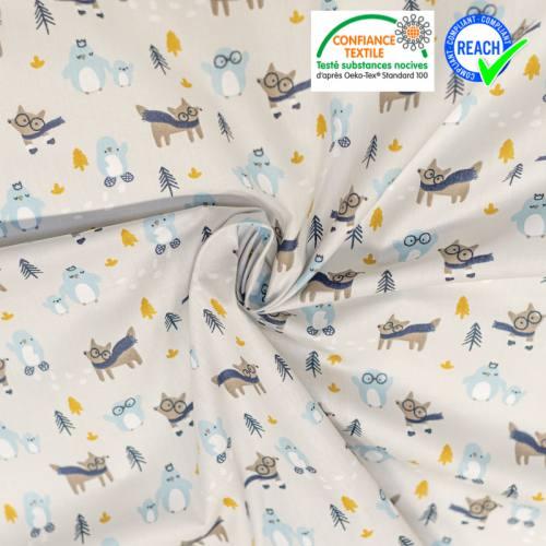 Coton gris argile motif pingouin et loup Oeko-tex
