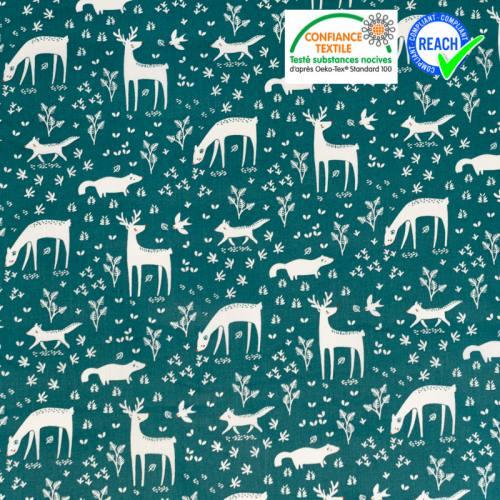 Coton vert paon motif biche et cerf Oeko-tex