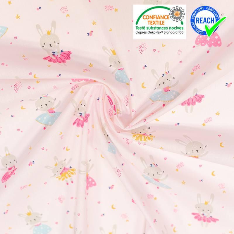 Coton rose pâle motif lapine danseuse lavigna Oeko-tex
