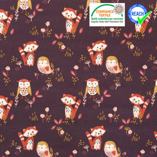 Coton aubergine motif panda roux et oiseau sokidy Oeko-tex