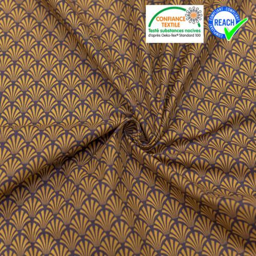 Coton aubergine motif écaille art déco camel khol Oeko-tex