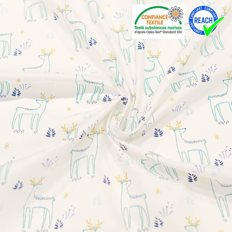Coton blanc motif cerf et étoile brillants kajsa Oeko-tex