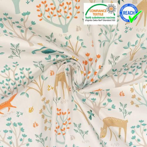 Coton blanc motif feuilles d'automne et animaux Oeko-tex