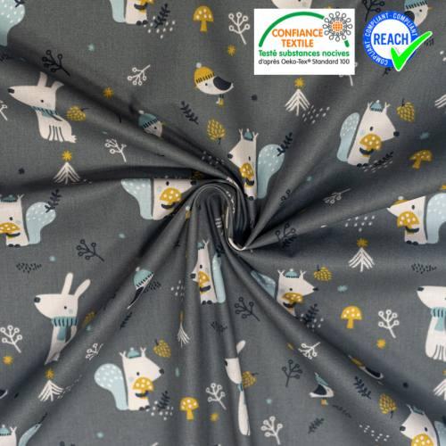 Coton gris motif oiseau chien et écureuil woody