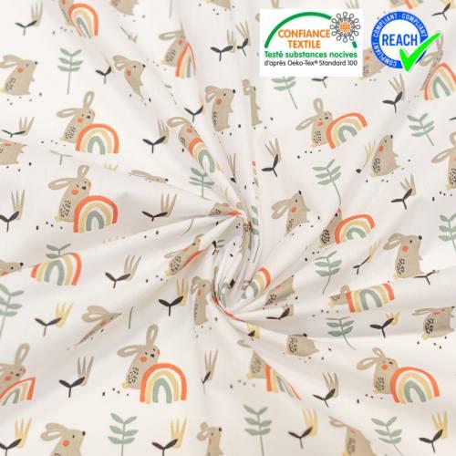 Coton blanc imprimé lapin et arbuste vert beige brique ladino Oeko-tex