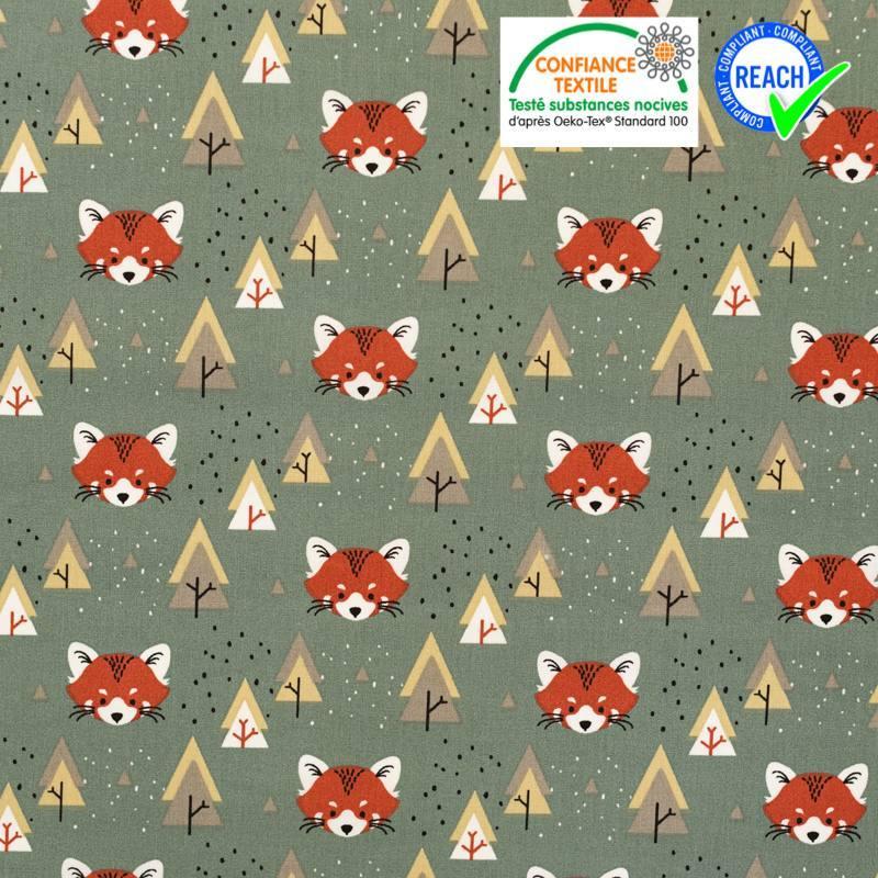 Coton vert thym imprimé renard et forêt pado