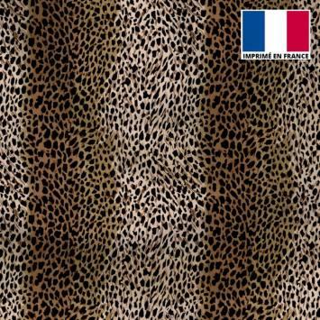 Tissu microfibre dégradée marron motif léopard