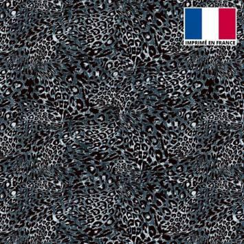 Tissu microfibre bleu motif imitation léopard