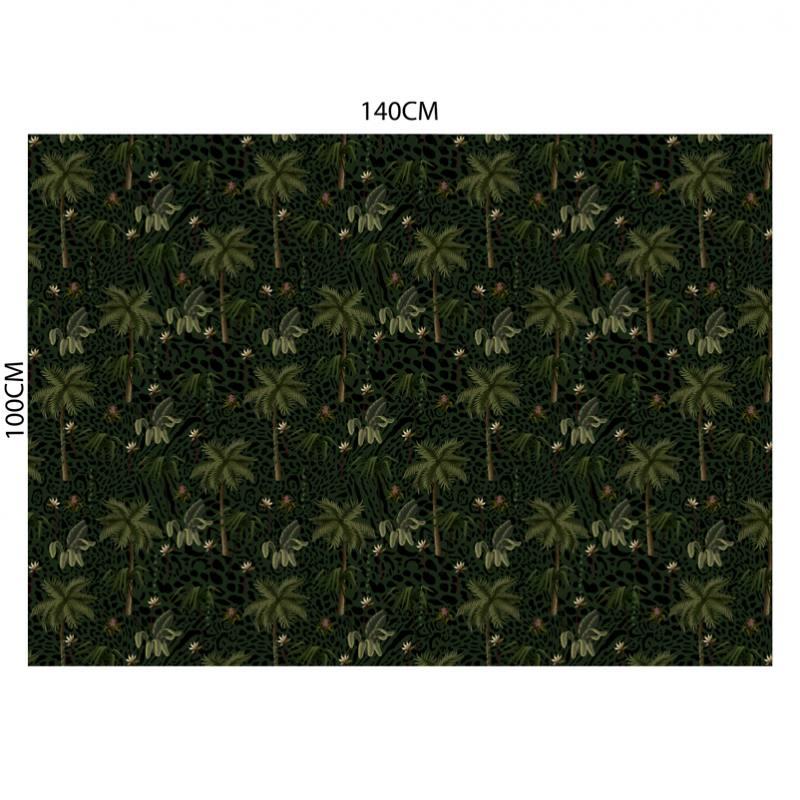 Velours ras léopard vert motif palmier