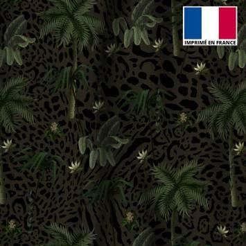 Velours ras léopard kaki motif palmier