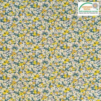 Popeline de coton vert motif fleuri jaune Oeko-tex
