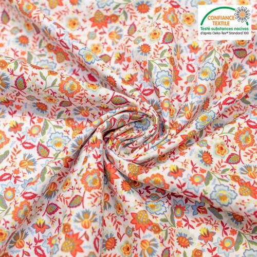 Popeline de coton écrue motif fleur cachemire orange Oeko-tex
