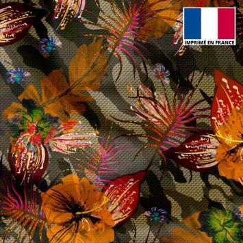 Tissu microfibre camouflage motif fleur orange