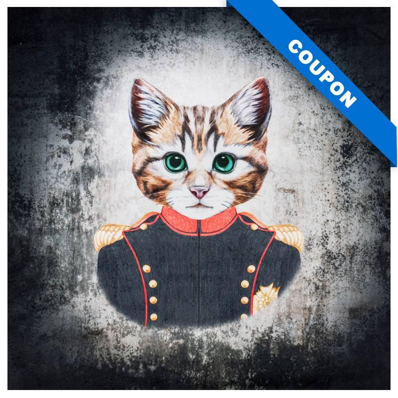 Carré 45x45.5 cm - Velours gris imprimé chat en uniforme