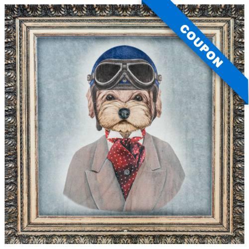 Carré 45x45.5 cm - Velours gris imprimé tableau chien aviateur