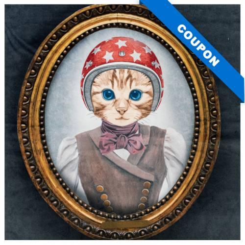 Carré 45x45.5 cm - Velours gris imprimé chat à casque rouge