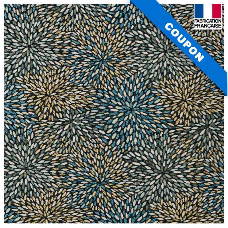 Coupon 50x73 cm - Jacquard noir motif étincelle bleue et or