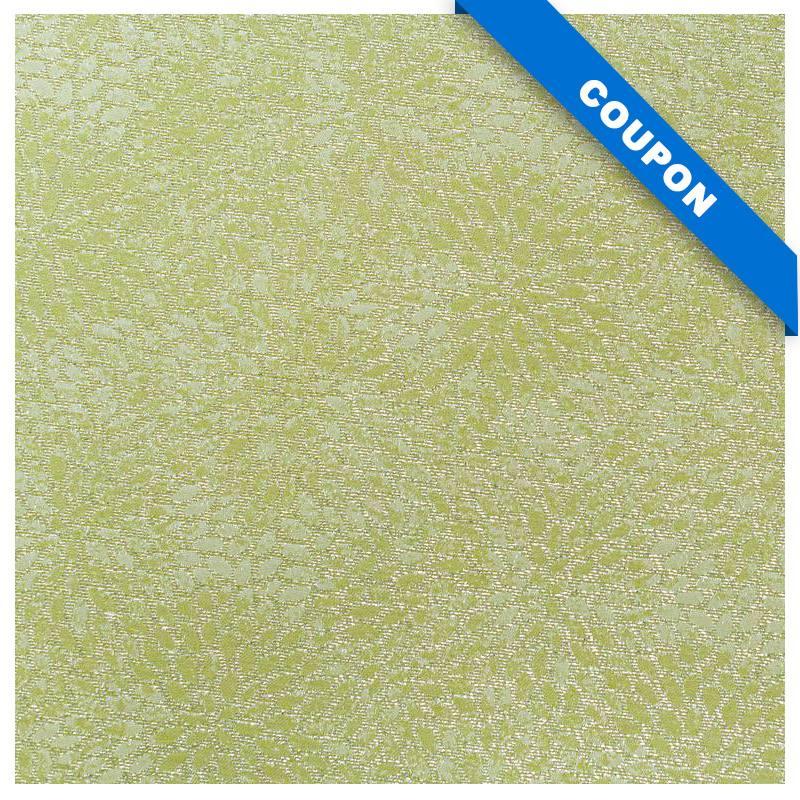 Coupon 50x68 cm - Tissu jacquard vert avec fil argenté